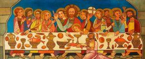 Reproducción, realizada por Cástor González, del calco hecho a la pintura medieval descubierta.